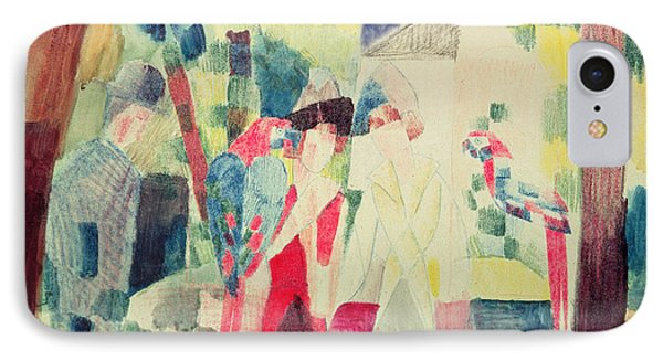 Two Women And A Man With Parrots Phone Case by August Macke