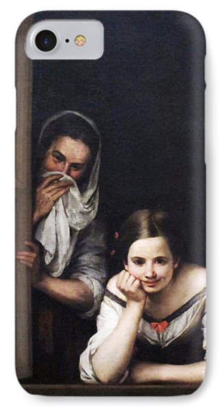IPhone Case featuring the painting Two Women At Window by Pg Reproductions