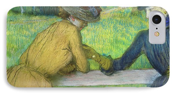 Two Women Leaning On A Gate Phone Case by Edgar Degas