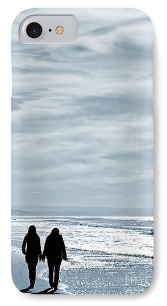 Two Women Walking At The Beach In The Winter Phone Case by Jose Elias - Sofia Pereira