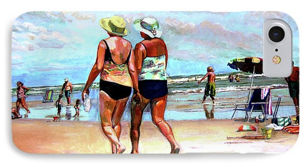 Two Women Walking On The Beach IPhone Case by Stan Esson