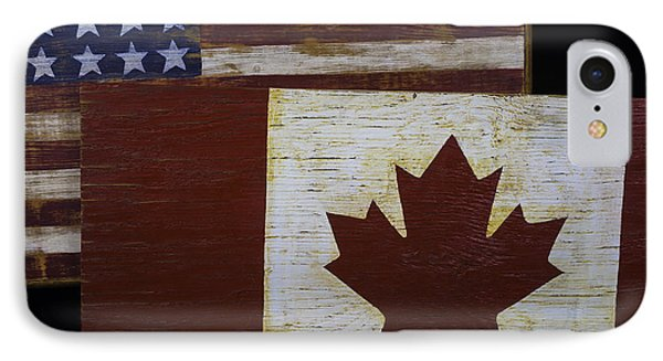 Two Wooden Flags American And Canadian IPhone Case