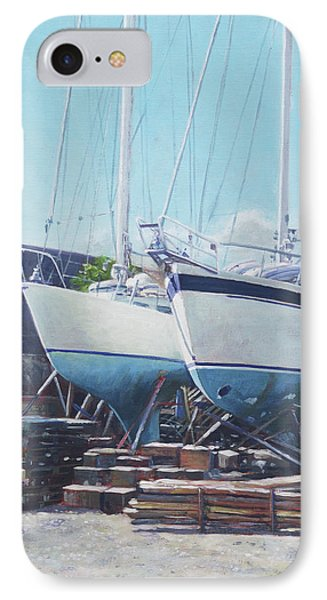 IPhone Case featuring the painting Two Yachts Receiving Maintenance In A Yard by Martin Davey