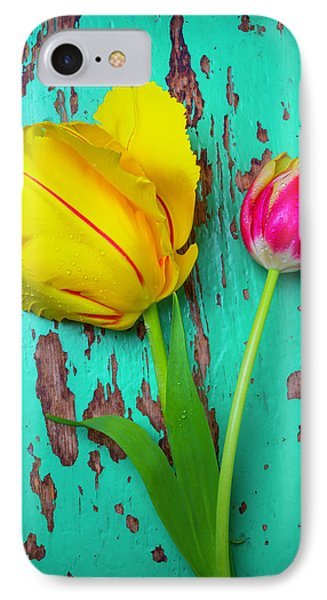 Two Yellow Red Tulips IPhone Case by Garry Gay