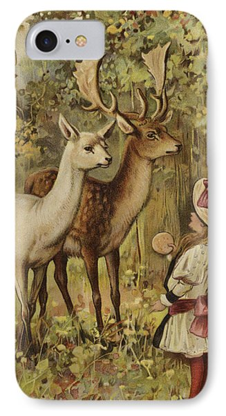 Two Young Children Feeding The Deer In A Park IPhone Case