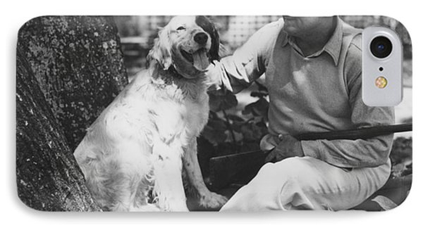 Ty Cobb With His Dog IPhone Case by Underwood Archives