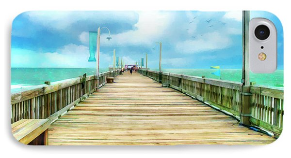 Tybee Island Pier In Watercolor IPhone Case by Tammy Wetzel