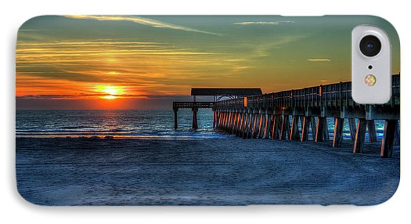 Tybee Island Pier Reflections Tybee Island Georgia Sunrise Art IPhone Case by Reid Callaway