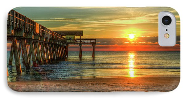 Tybee Pier Panorama Sunrise Art IPhone Case by Reid Callaway
