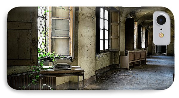 IPhone Case featuring the photograph Typewriter Story Of Abandoned Building - Urbex Exploration by Dirk Ercken