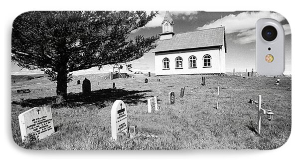 Typical Icelandic Style Church And Cemetery At Hraungerdi Iceland IPhone Case by Joe Fox
