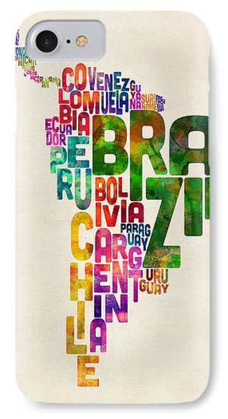 South America iPhone 7 Case - Typography Map Of Central And South America by Michael Tompsett