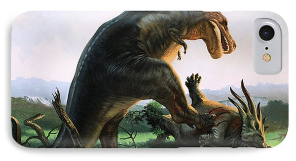 Tyrannosaurus Rex Eating A Styracosaurus IPhone 7 Case by William Francis Phillipps