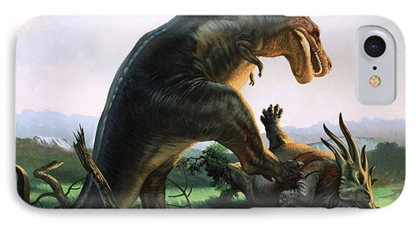 Tyrannosaurus Rex Eating A Styracosaurus IPhone Case by William Francis Phillipps