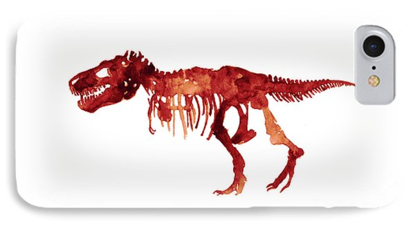 Dinosaur iPhone 7 Case - Tyrannosaurus Rex Skeleton Poster, T Rex Watercolor Painting, Red Orange Animal World Art Print by Joanna Szmerdt