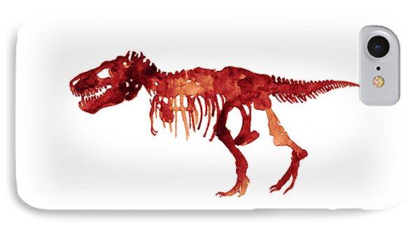 Tyrannosaurus Rex Skeleton Poster, T Rex Watercolor Painting, Red Orange Animal World Art Print IPhone Case by Joanna Szmerdt