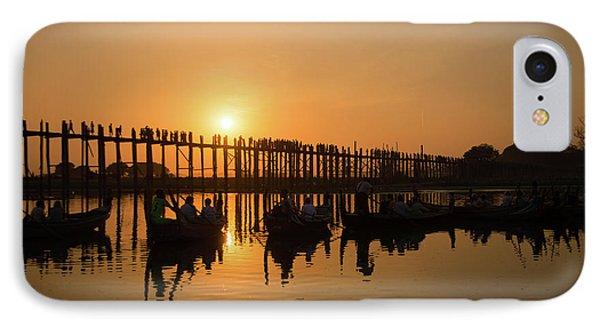 Burmese Python iPhone 7 Case - U Bein Bridge At Sunset by Delphimages Photo Creations