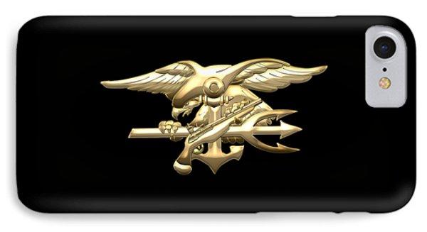 U. S. Navy S E A Ls Emblem On Black Velvet Phone Case by Serge Averbukh