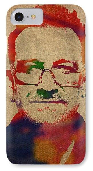 Bono iPhone 7 Case - U2 Bono Watercolor Portrait by Design Turnpike