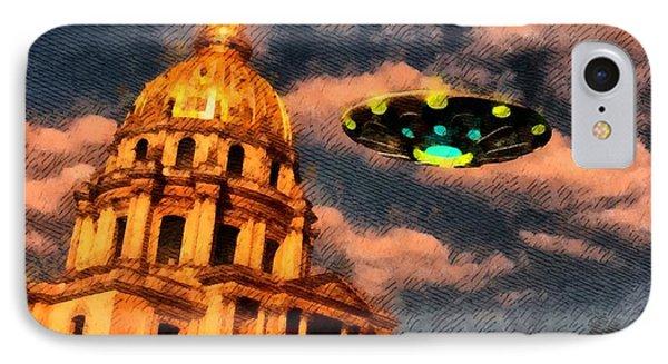 Ufo Over Paris IPhone Case by Raphael Terra