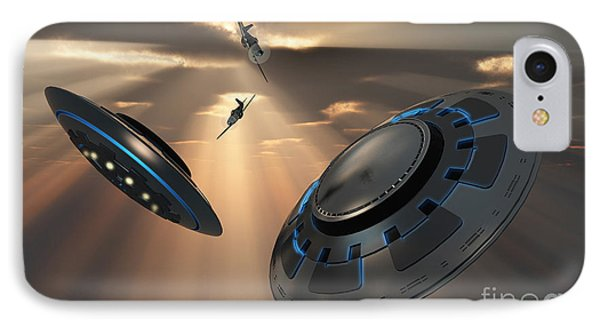 Ufos And Fighter Planes In The Skies Phone Case by Mark Stevenson
