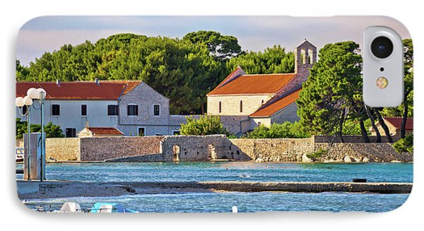 Ugljan Island Village Old Church And Beach View IPhone Case