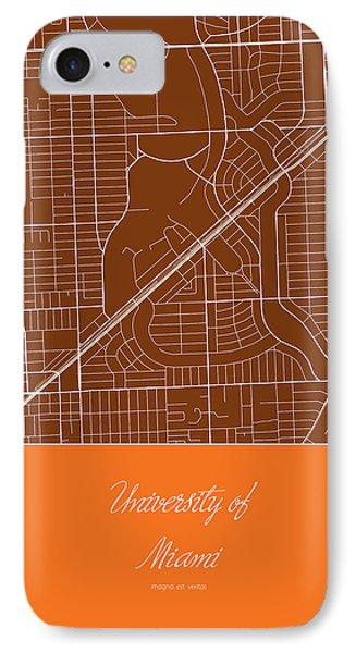 Um Street Map - University Of Miami In Miami Map IPhone Case by Jurq Studio