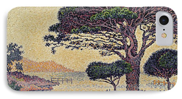 Umbrella Pines At Caroubiers IPhone Case by Paul Signac