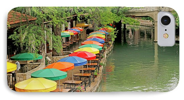 IPhone Case featuring the photograph Umbrellas Along River Walk - San Antonio by Art Block Collections