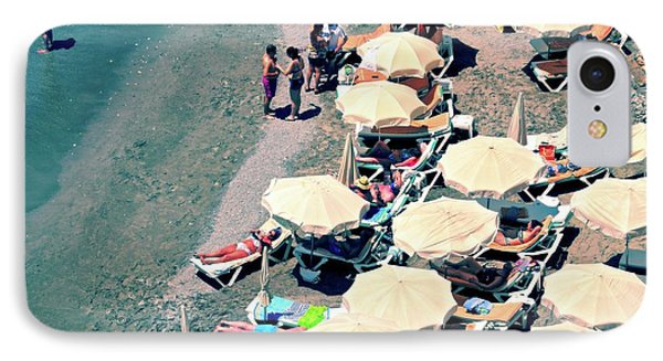 IPhone Case featuring the photograph Umbrellas On The Beach - Nerja by Mary Machare