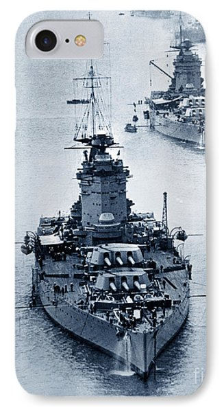 Hms Nelson And Hms Rodney Battleships And Battlecruisers Hms Hood Circa 1941 IPhone Case by California Views Mr Pat Hathaway Archives