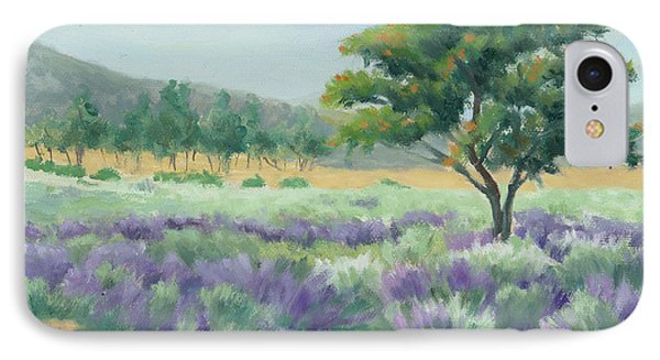 IPhone Case featuring the painting Under Blue Skies In Lavender Fields by Sandy Fisher