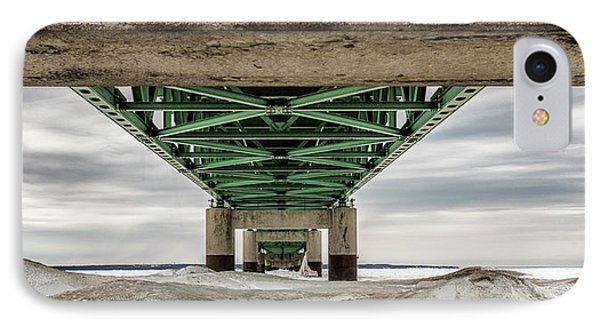 IPhone Case featuring the photograph Under Mackinac Bridge Winter by John McGraw