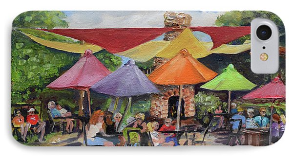 IPhone Case featuring the painting Under The Umbrellas At The Cartecay Vineyard - Crush Festival  by Jan Dappen