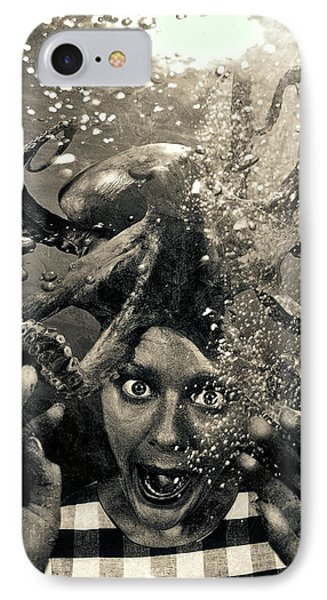 Underwater Nightmare Black And White IPhone Case by Marian Voicu