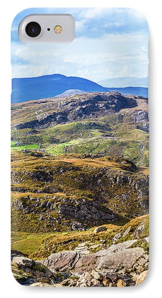 IPhone Case featuring the photograph Undulating Green, Purple And Yellow Rocky Landscape In  Ireland by Semmick Photo