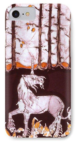 Unicorn Below Trees In Autumn Phone Case by Carol  Law Conklin