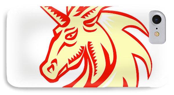 Unicorn Horse Head Side Woodcut IPhone Case by Aloysius Patrimonio