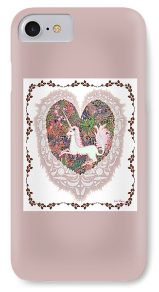 IPhone Case featuring the digital art Unicorn In A Pink Heart by Lise Winne