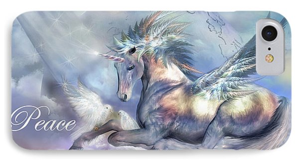 Unicorn Of Peace Card Phone Case by Carol Cavalaris