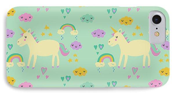 Unicorn Pattern IPhone Case by Nicole Wilson