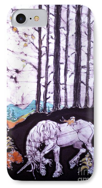 Unicorn Rests In The Forest With Fox And Bird Phone Case by Carol Law Conklin