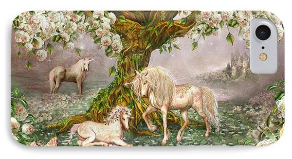 IPhone Case featuring the mixed media Unicorn Rose Tree by Carol Cavalaris