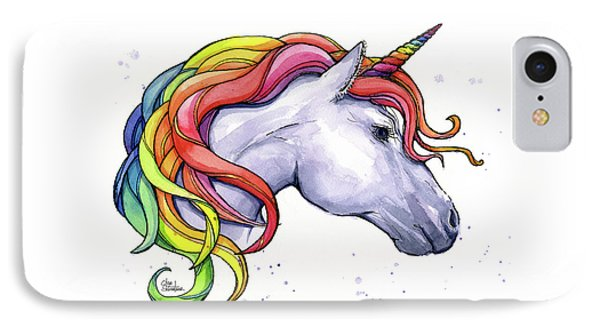Unicorn iPhone 7 Case - Unicorn With Rainbow Mane by Olga Shvartsur
