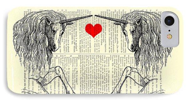 Unicorns Love IPhone 7 Case by Madame Memento