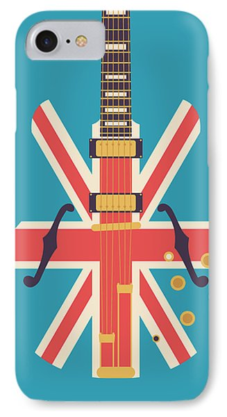 Union Jack Guitar - Alt Blue IPhone Case by Ivan Krpan