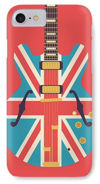 Union Jack Guitar - Alt Red IPhone Case by Ivan Krpan