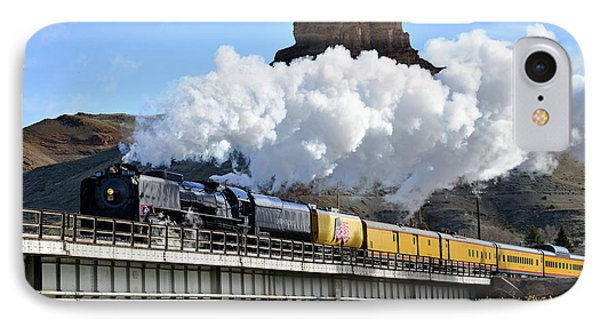 Union Pacific Steam Engine 844 And Castle Rock IPhone Case by Eric Nielsen