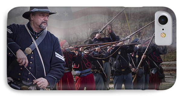 Union Soldier Reenactors IPhone Case by Randall Nyhof