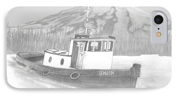 IPhone Case featuring the drawing Tugboat Union by Terry Frederick